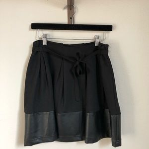 Dresses & Skirts - Pleated Mini Skirt w/ Leather Accent